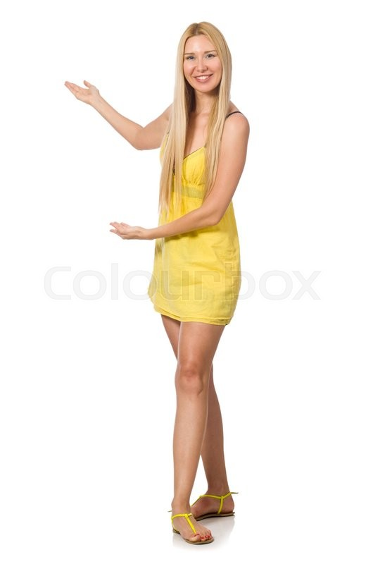 Stock image of 'Caucasian fair model in yellow summer dress isolated on white'