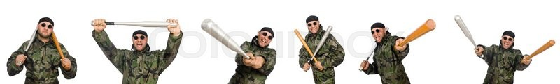 Stock image of 'Soldier with baseball bat on white'