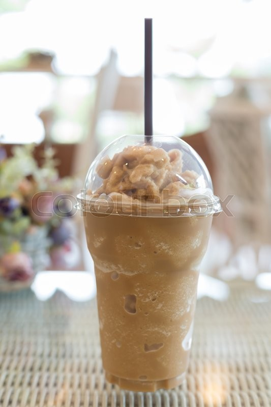 Stock image of 'cold ice coffee drink put on table in cafe coffee shop'