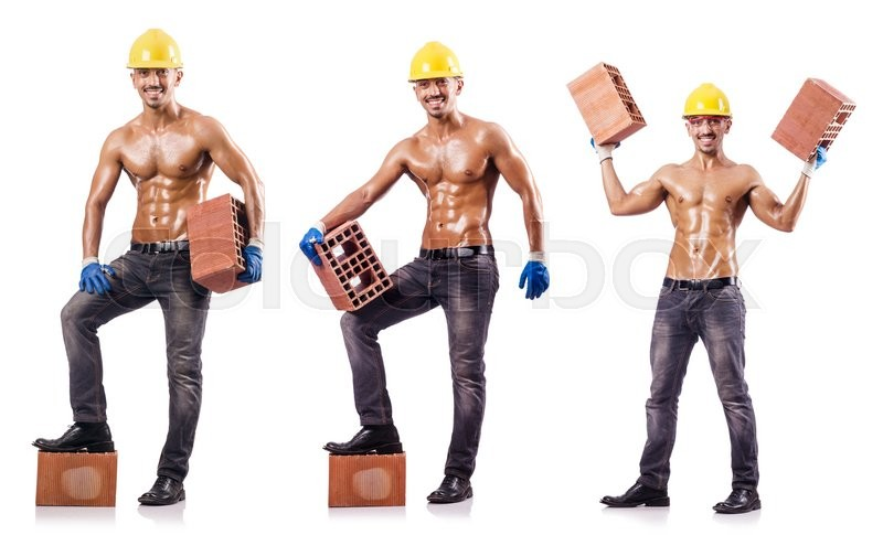 Stock image of 'Composite photo of naked man with bricks'
