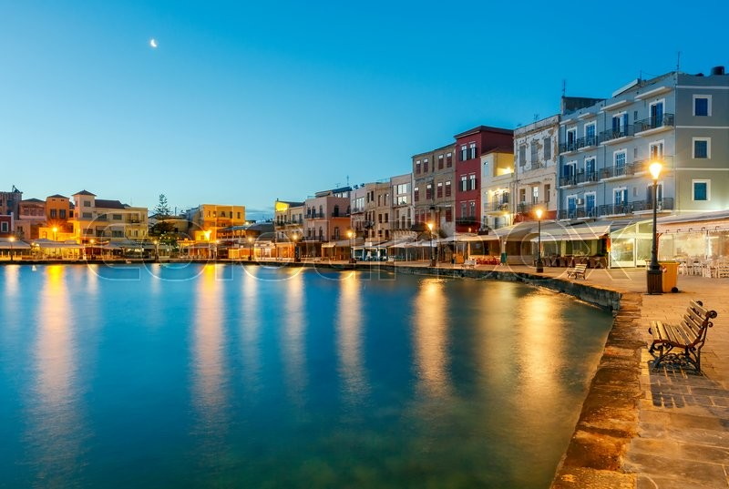 Stock Bild von 'chania, city, blau'