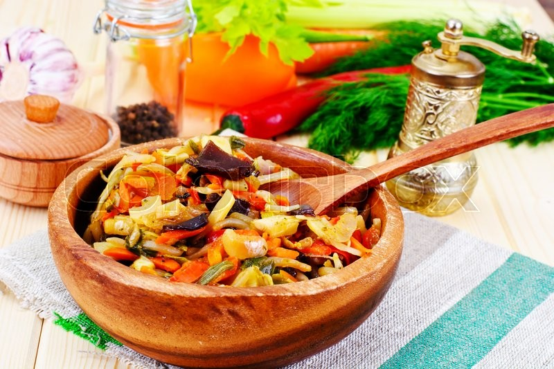 Stock image of 'Chinese Vegetable Stew. Paprika, Peas, Carrots. Diet Food. Studio Photo'