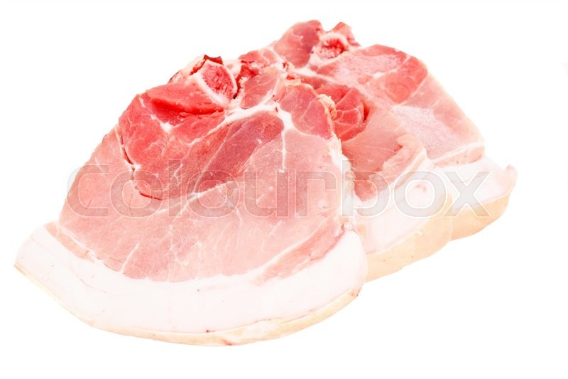 Stock image of 'A Piece of Fresh Raw Pork, Meat Isolated on White Background Studio Photo'