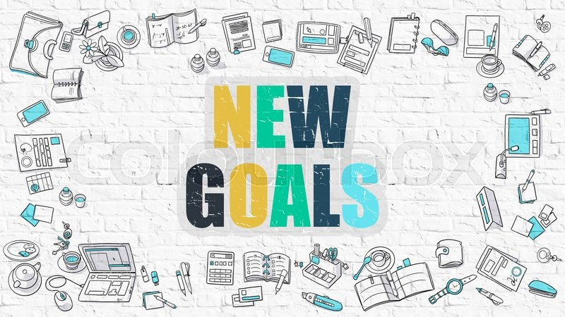Stock image of 'New Goals Concept. Modern Line Style Illustration. Multicolor New Goals Drawn on White Brick Wall. Doodle Icons. Doodle Design Style of New Goals Concept.'
