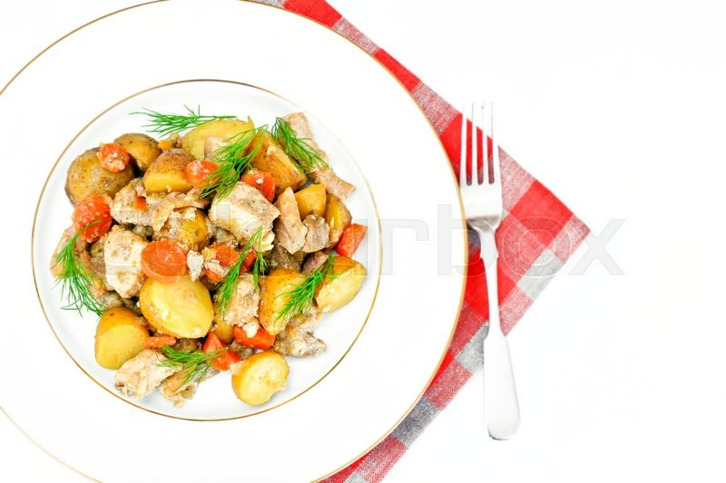Stock image of 'Stewed Quince with Potatoes, Carrots, Onions and Meat Studio Photo'