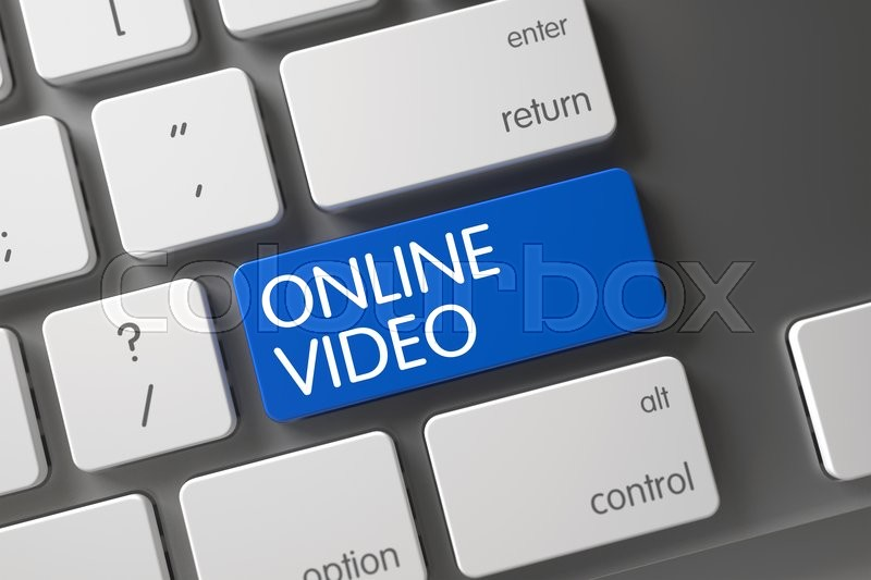 Stock image of 'Concept of Online Video, with Online Video on Blue Enter Key on Aluminum Keyboard. Key Online Video on Aluminum Keyboard. Online Video CloseUp of Slim Aluminum Keyboard on Laptop. 3D.'