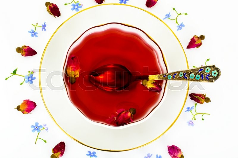 Stock image of 'Red Rose Hibiscus Tea with Flowers Studio Photo'