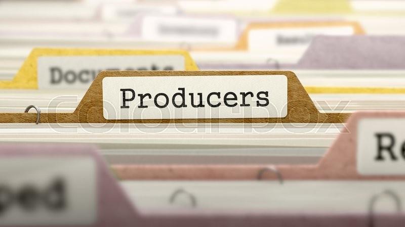 Stock image of 'Producers on Business Folder in Multicolor Card Index. Closeup View. Blurred Image. 3D Render.'
