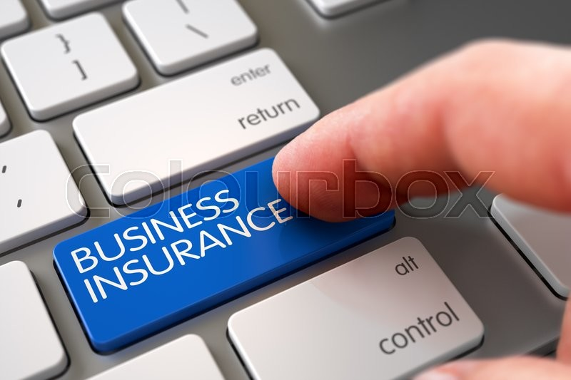 Stock image of 'Business Concept - Male Finger Pointing Business Insurance Key on Modern Keyboard. Finger Pressing a White Keyboard Key with Business Insurance Sign. 3D Render.'