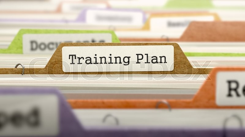 Stock image of 'Training Plan Concept on Folder Register in Multicolor Card Index. Closeup View. Selective Focus. 3D Render.'
