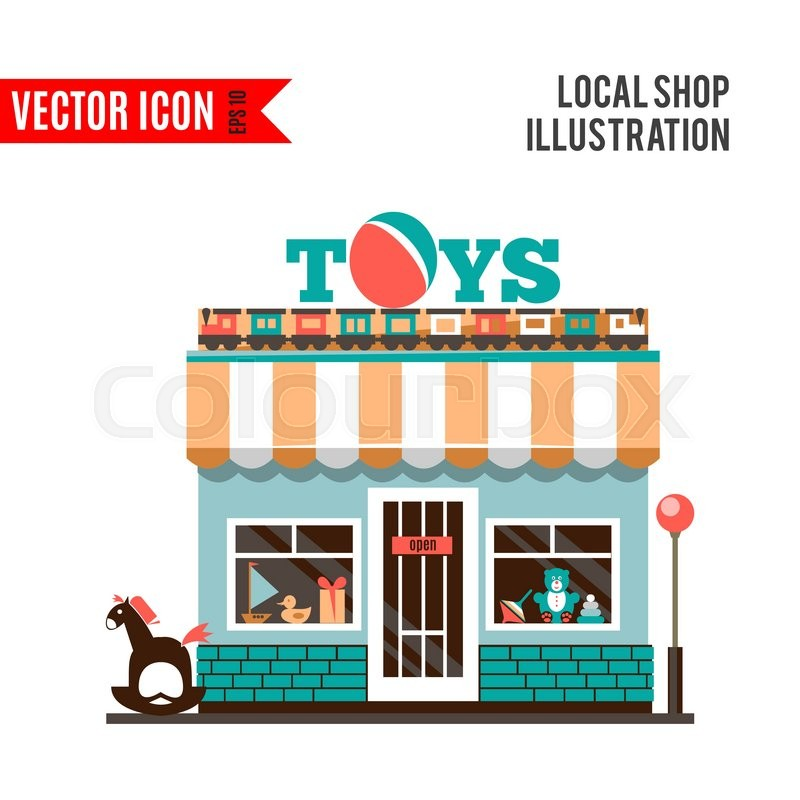 Toy Shop Icon Isolated On White Stock Vector Colourbox