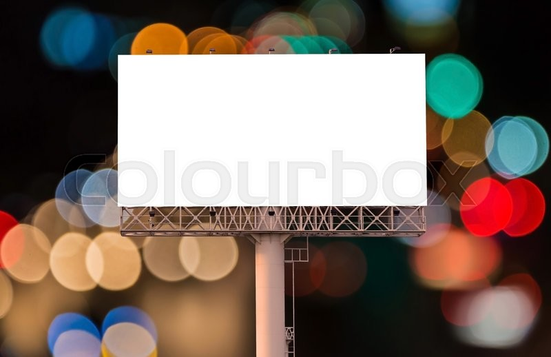 Stock image of 'Blank billboard for advertisement on night time with bokeh background.'