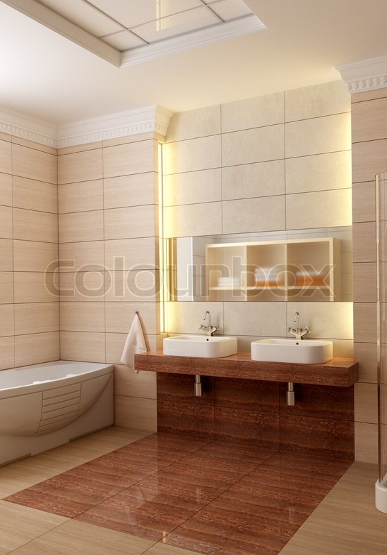 3d rendering der modernen badezimmer stockfoto colourbox. Black Bedroom Furniture Sets. Home Design Ideas