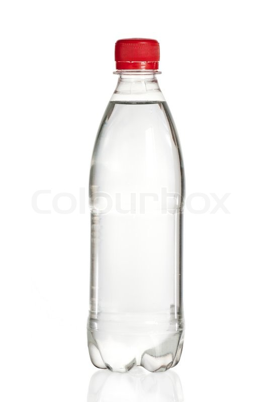 Plastic Water Bottle With Red Cap Against White Background