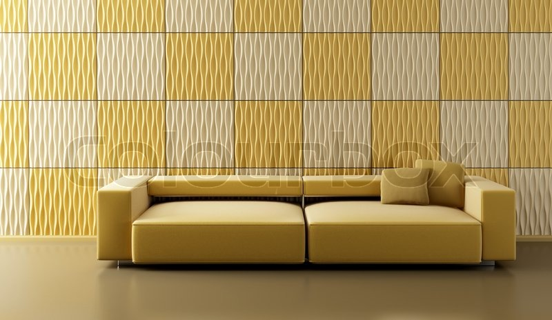 Pop-art 3d interior with ochre couch and yellow wall | Stock Photo ...