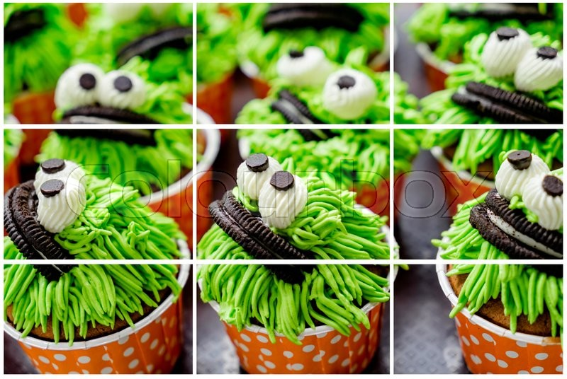 Stock image of 'collage of photo Cute cupcakes with  in plate'