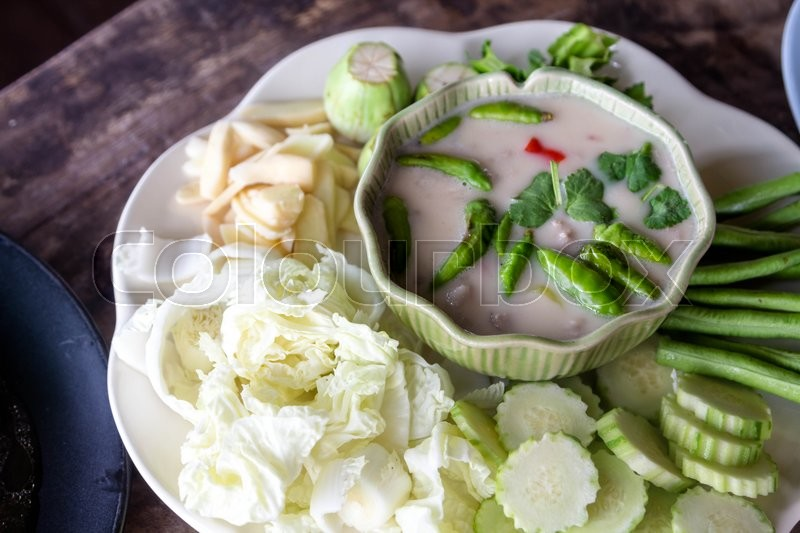 Stock image of 'Chili paste with vegetable, Thai food'