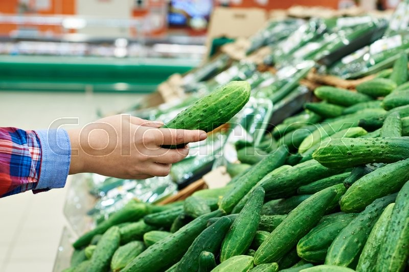 Stock image of 'Buyer selects the cucumber in the store'