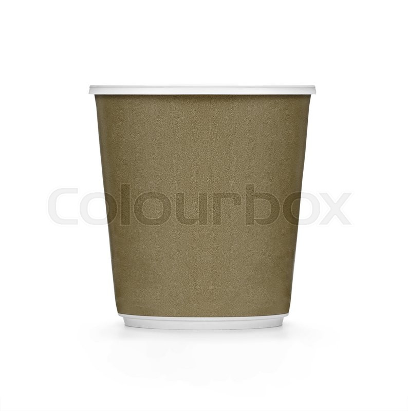 Stock image of 'Plastic brown coffee cup on white background'
