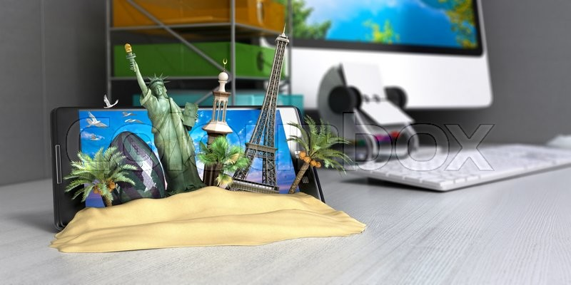 Stock image of 'VT concept of travel, landmarks look out for the sand the phone screen on worck table, online ordering vouchers, beautiful background for Camping & Outdoor theme, 3d render'