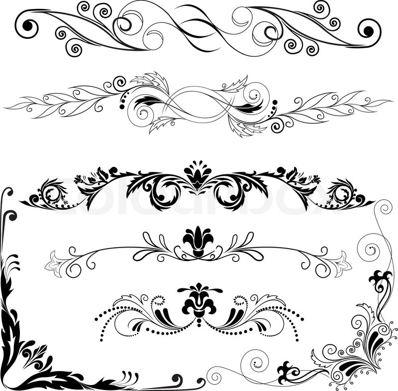 Horizontal Line Design : Vector illustration set of decorative horizontal and