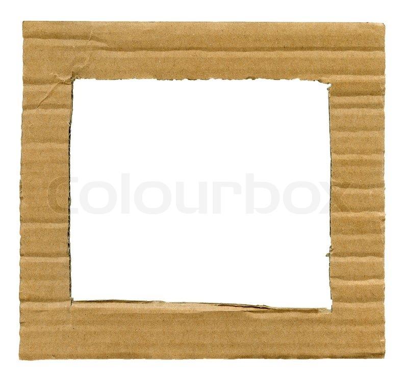Textured Papprahmen mit Ecken und Kanten isoliert über weiß ...