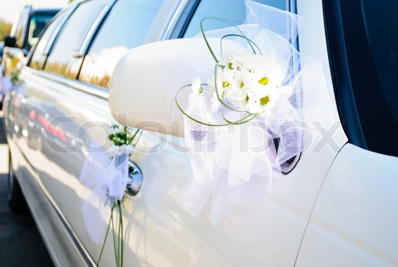 Luxury Wedding Car Decorated With Flowers Selective Focus Stock