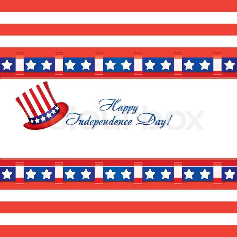 Amerikanische Flagge Farben in eine Grußkarte und Zylinder für 4 ...
