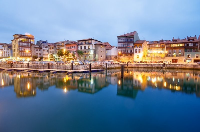 Editorial image of 'LLANES, SPAIN - AUGUST 19: Night on August 19, 2011 in Llanes: old town and port in Llanes.'