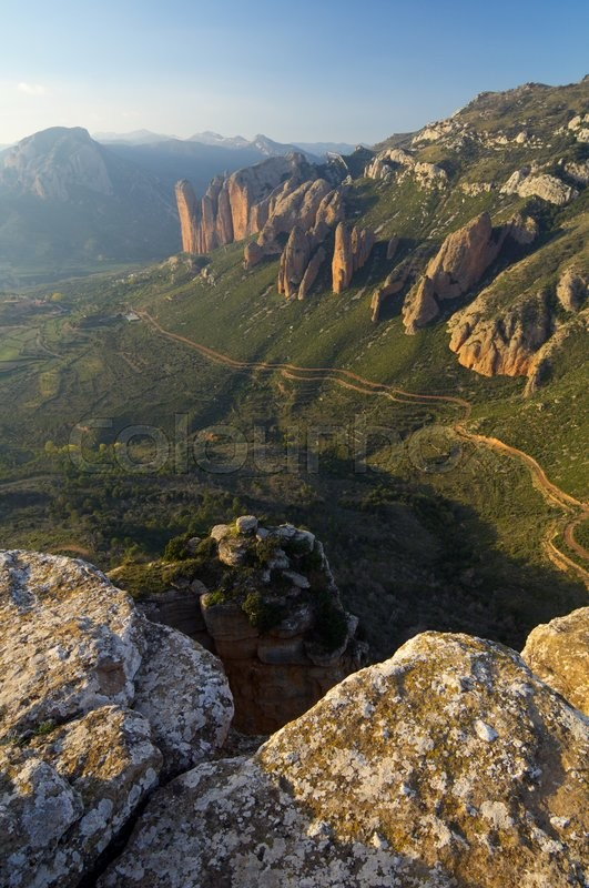 Stock image of 'Rock spires known as Mallos de Riglos, Huesca, Aragon, Spain'