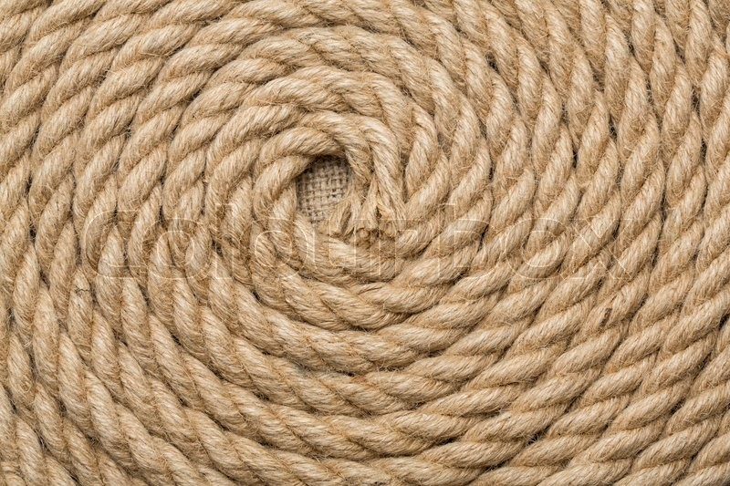 Stock image of 'Jute rope twisted in a spiral'