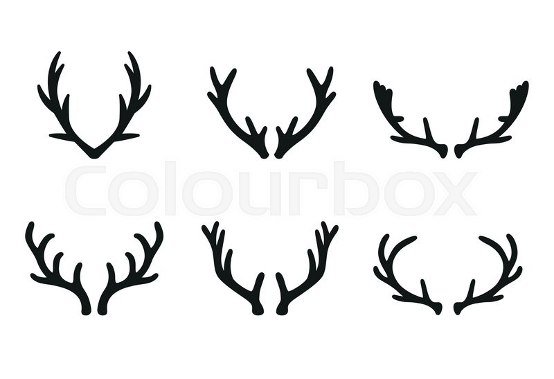 vector deer antlers black icons set deer logo design elements set rh colourbox com deer antler vector images free deer antler vector images