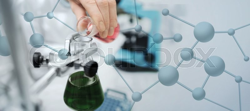 Stock image of 'science, chemistry, biology, medicine and people concept - close up of scientist hand filling test tubes and making research in clinical laboratory over blue molecular structure background'