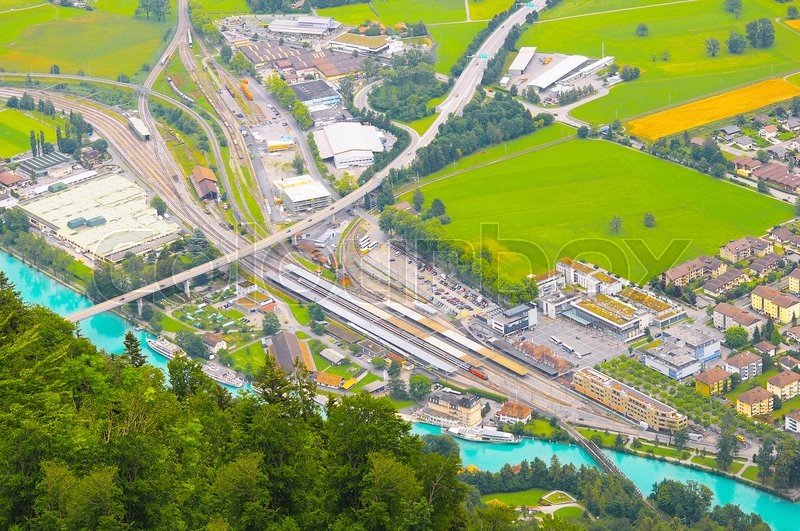 Stock image of 'Aerial view of the city district and Interlaken Ost railway station. Switzerland.'