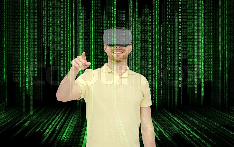 Stock image of '3d technology, virtual reality, entertainment and people concept - happy young man with virtual reality headset or 3d glasses playing game over binary code background'