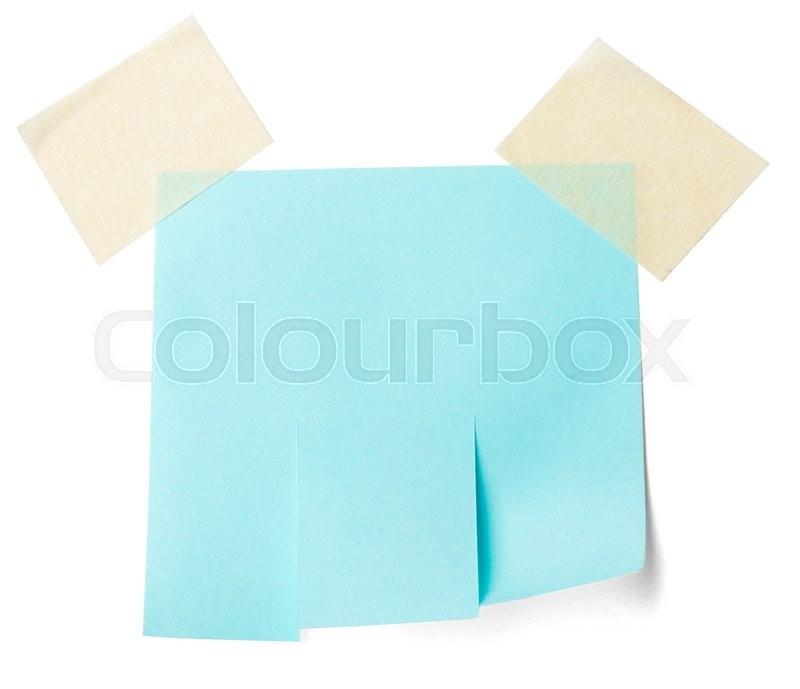 Stock image of 'Blank blue paper with tear off tabs. Isolated on white'