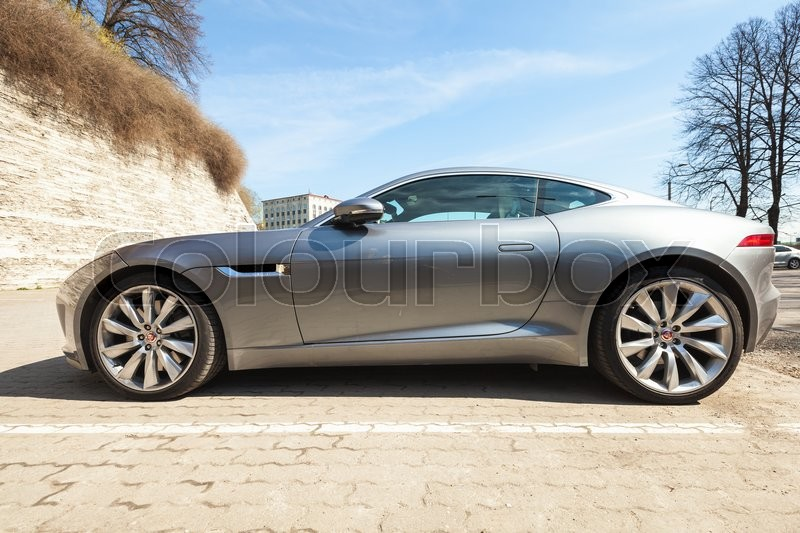 Tallinn, Estonia   May 2, 2016: Gray Metallic Jaguar F Type Coupe S, Side  View. Two Seat Sports Car, Based On Platform Of The XK Convertible, ...
