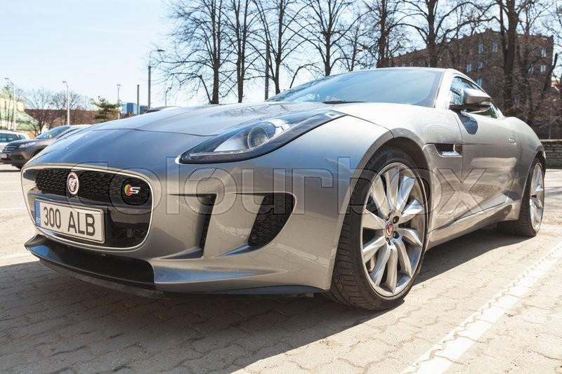 Tallinn, Estonia   May 2, 2016: Gray Metallic Jaguar F Type Coupe S,  Closeup. Two Seat Sports Car, Based On A Platform Of The XK Convertible, ...