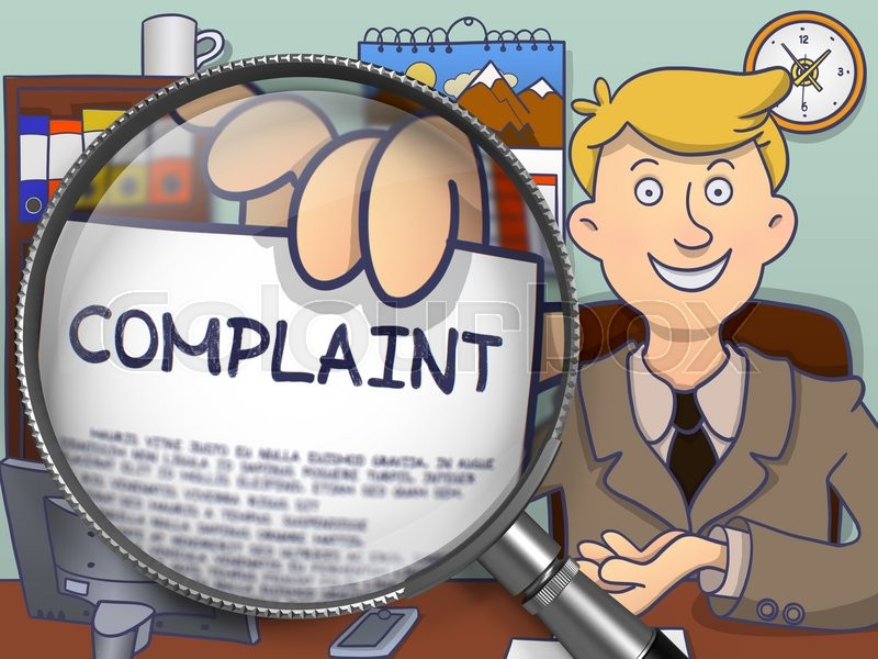 Stock image of 'Complaint on Paper in Businessman's Hand to Illustrate a Business Concept. Closeup View through Magnifying Glass. Colored Doodle Illustration.'