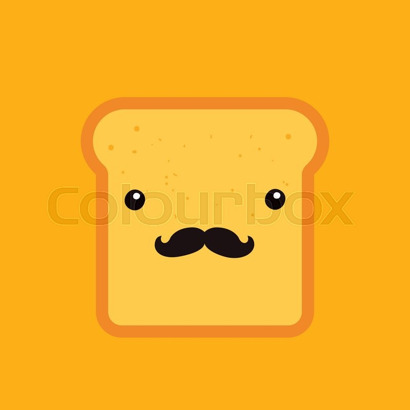 hipster toast bread funny cartoon character with mustache background