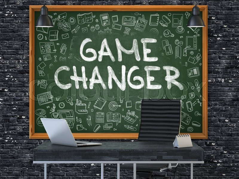 Stock image of 'Green Chalkboard on the Dark Brick Wall in the Interior of a Modern Office with Hand Drawn Game Changer. Business Concept with Doodle Style Elements. 3D.'