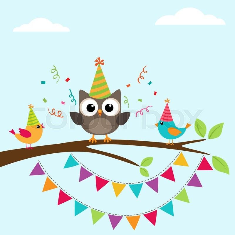 Vector Happy Birthday Greeting Card With Birds On Tree Stock