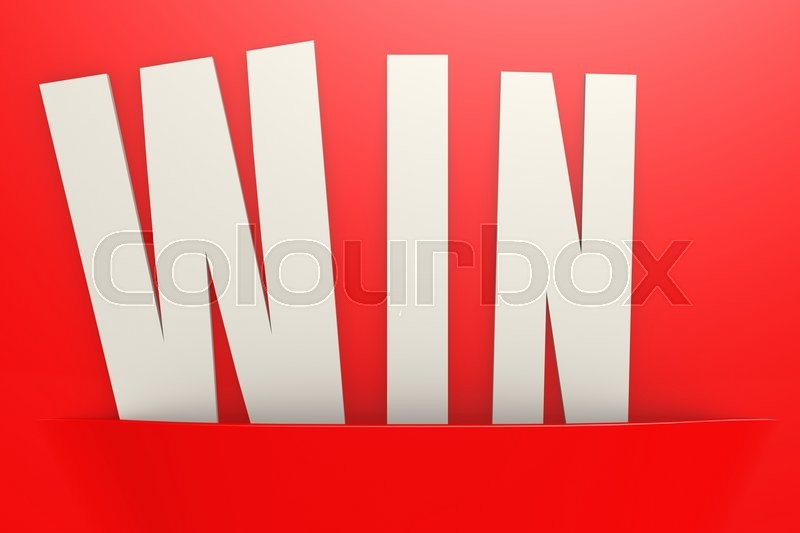 Editorial image of 'White win word in red pocket, business concept image with hi-res rendered artwork that could be used for any graphic design.'