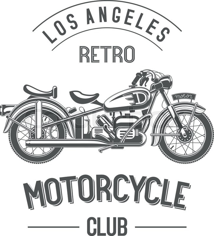 Retro Motorcycle Club Logo Monochrome Black Old Bike Isolated On White Sample City And Names Around The Badge