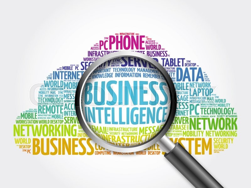 Stock image of 'Business Intelligence word cloud with magnifying glass, business concept'