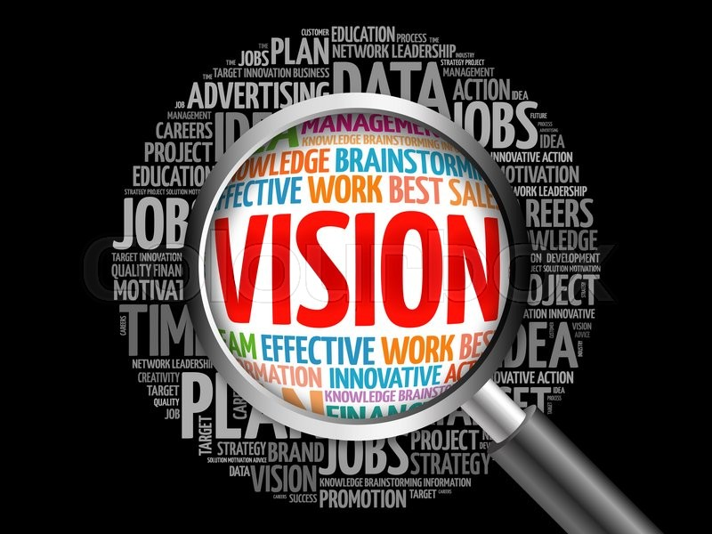 Stock image of 'VISION word cloud with magnifying glass, business concept'