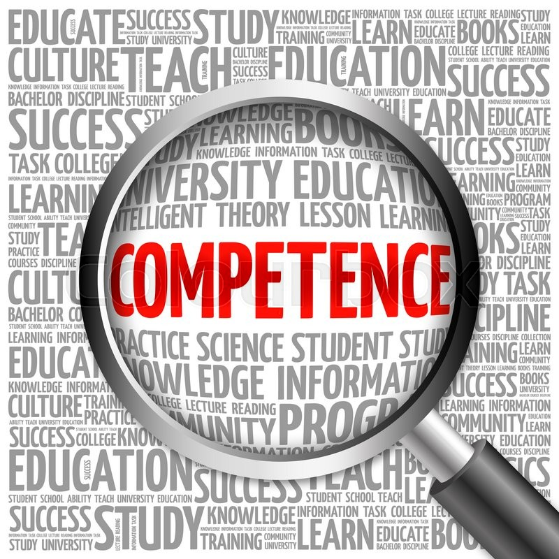 Stock image of 'COMPETENCE word cloud with magnifying glass, concept'