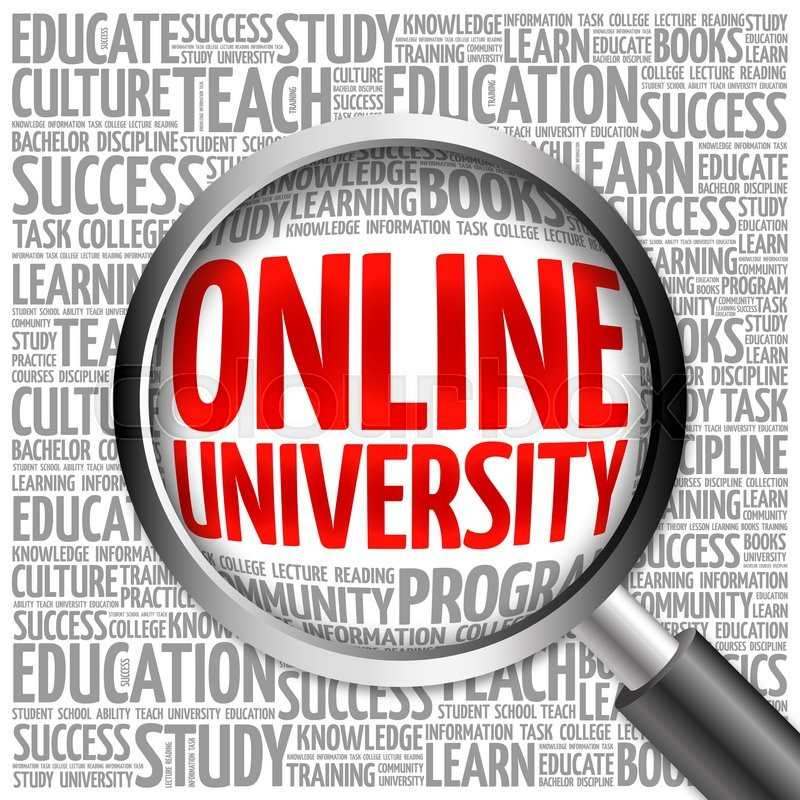 Stock image of 'Online University word cloud with magnifying glass, concept'