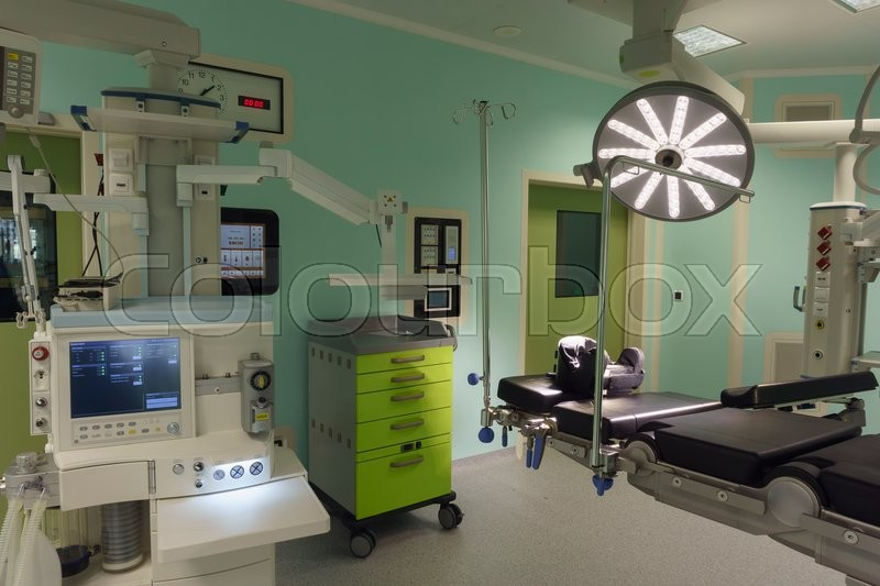 Operating room in modern clinic with equipment and medical devices, stock photo