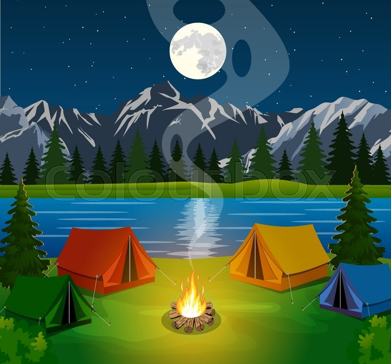 A Poster Showing A Campsite With A Campfire Vector Flat